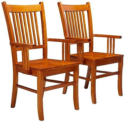 Amazon Com Marbrisa Slat Back Arm Chairs Sienna Brown Set Of 2