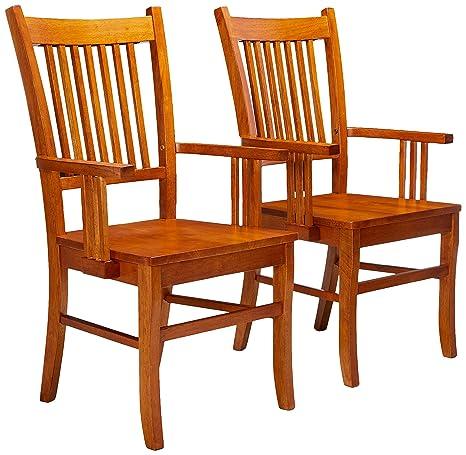 Amazon.com: Coaster Juego de sillas de comedor (2 Brazo ...