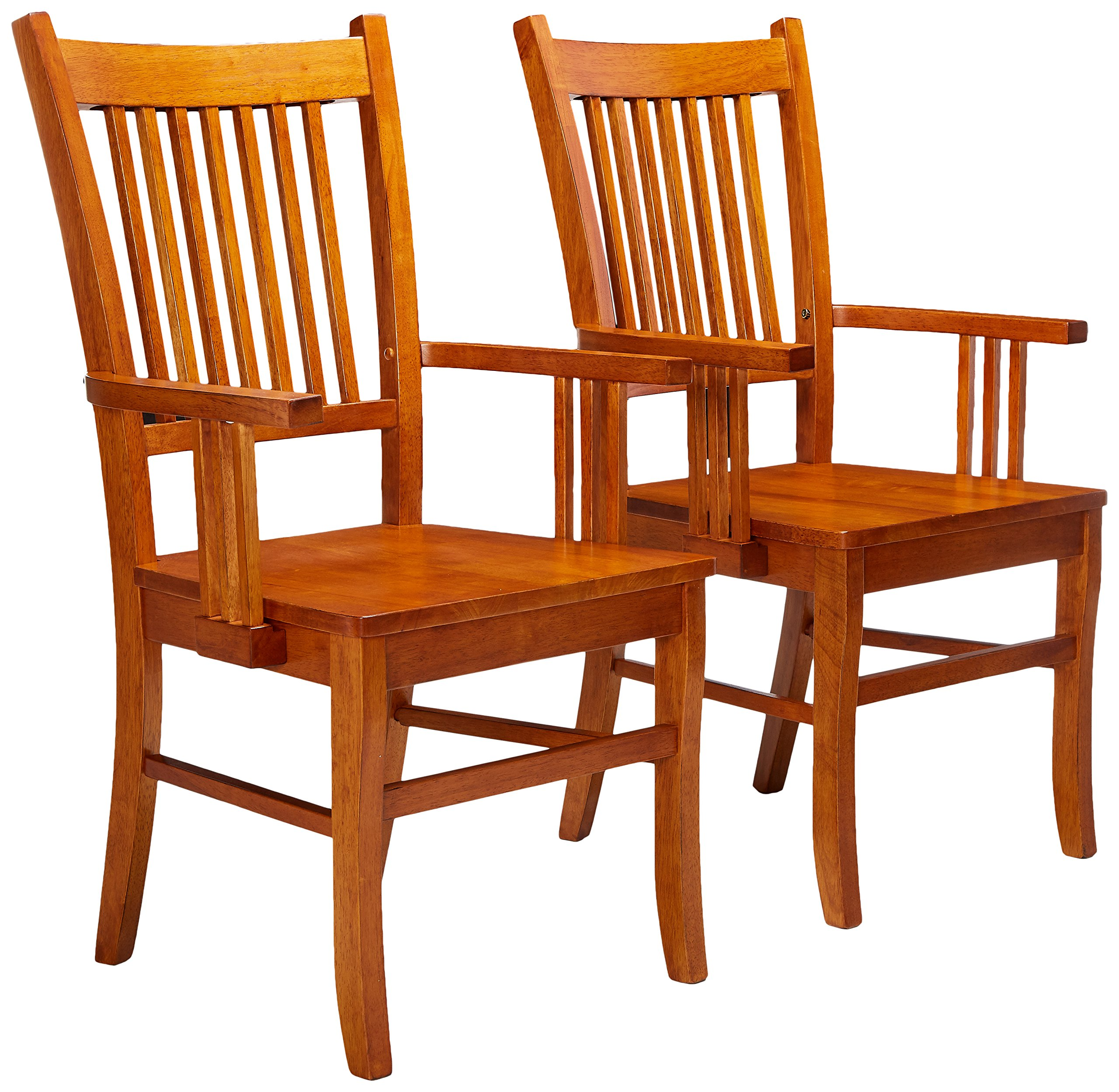 Marbrisa Slat Back Arm Chairs Sienna Brown (Set of 2)