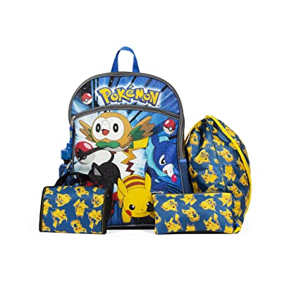 """Pokemon Blue and Yellow 16"""" Backpack Back to School Essentials Set durable service"""