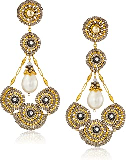 product image for Miguel Ases 14k Gold-Filled and Freshwater Cultured Pearl Cluster Circle Earrings