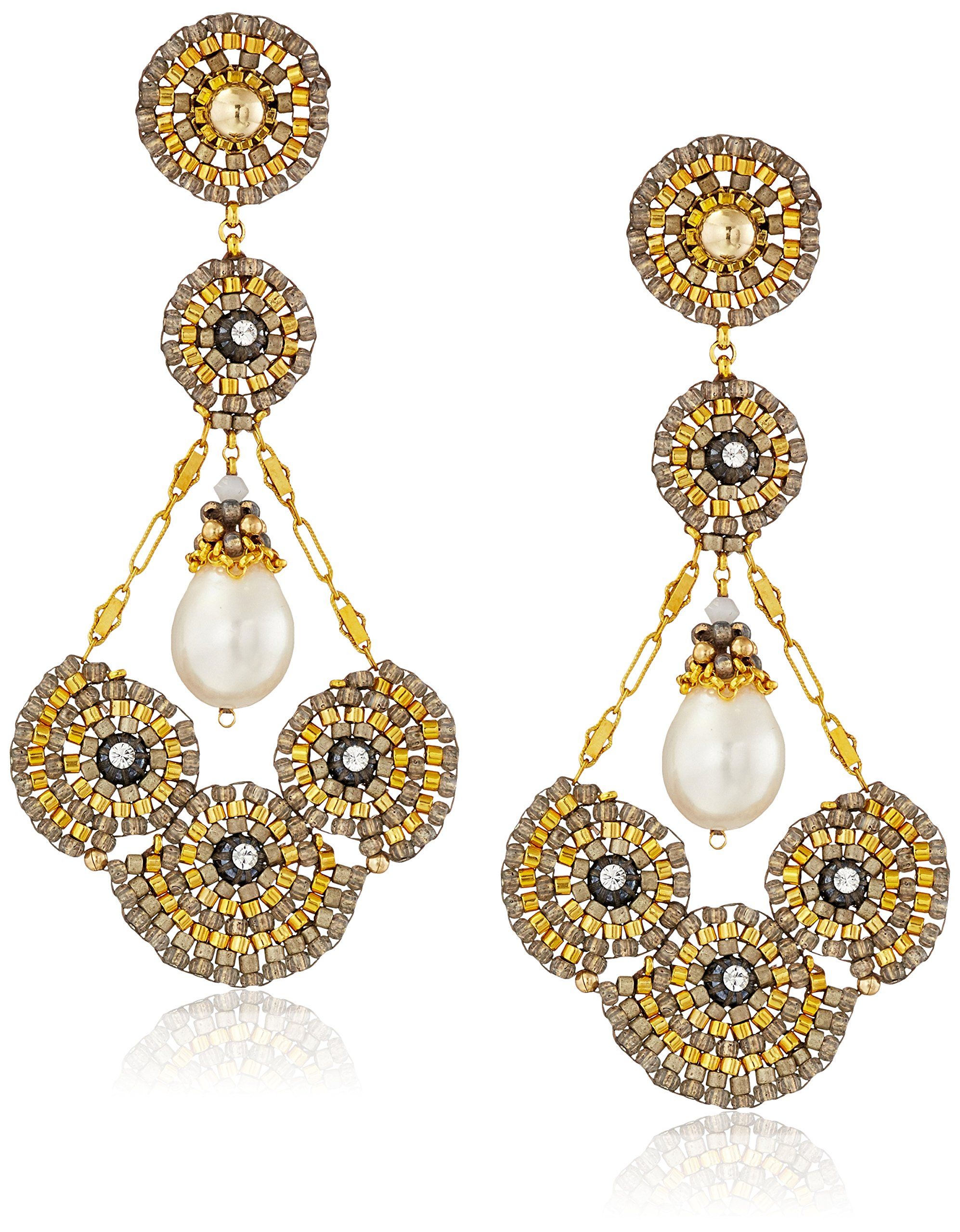 Miguel Ases 14k Gold-Filled and Freshwater Cultured Pearl Cluster Circle Earrings by Miguel Ases