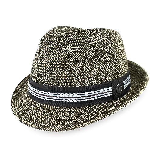 474dd06fd41 Belfry Men Women Summer Straw Trilby Fedora Hat in Blue Tan Black at ...