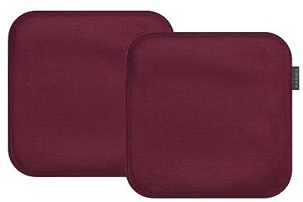 Magma-Heimtex Avaro Silla Cojín Fieltro imitación de 2 Unidades, Cuadrado Aprox. 35 x 35 cm (Color Rojo).