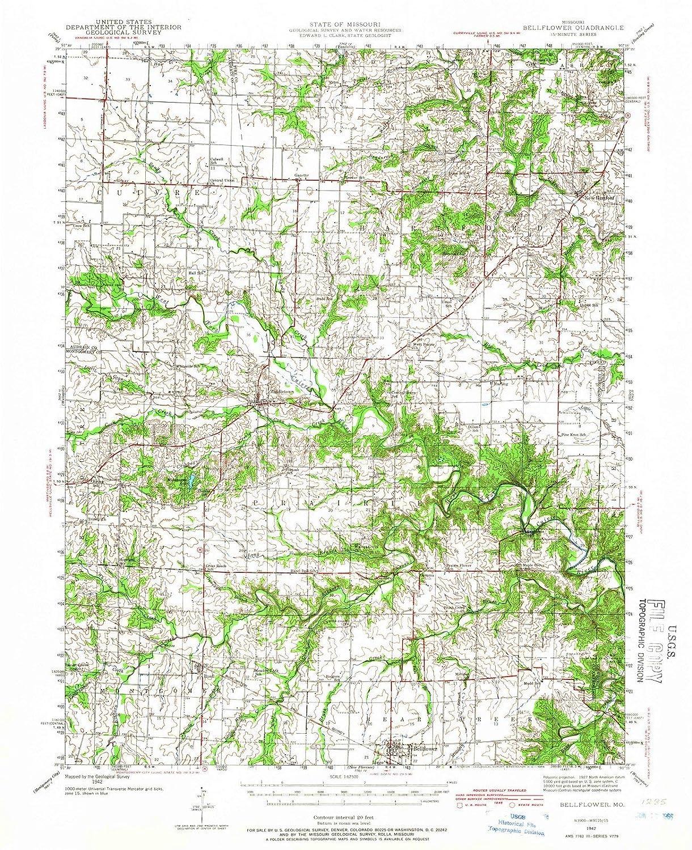 Amazon.com: Missouri Maps | 1942 Bellflower, MO USGS ...