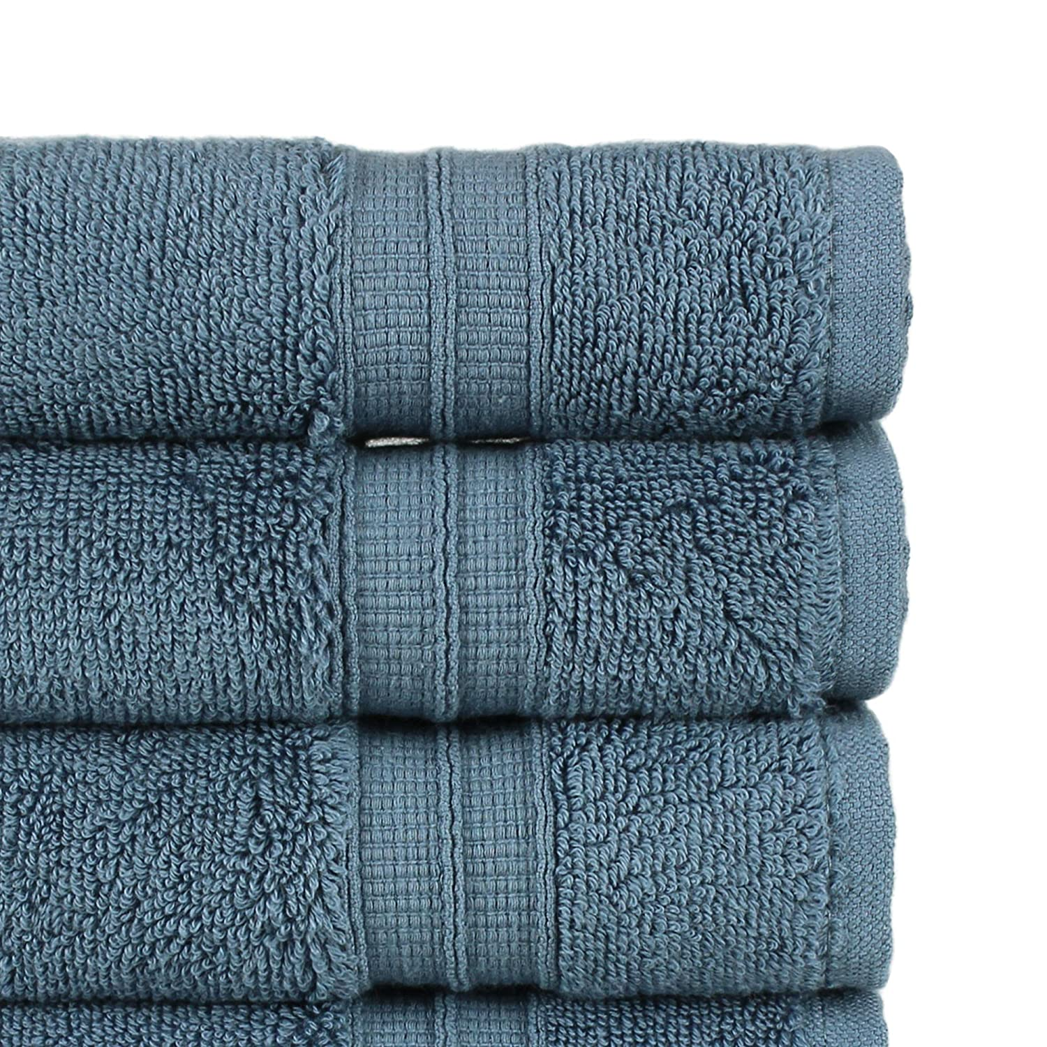 Aqua Blue Long-Stable 20//2 2 Ply Turkish Ring-Spun Cotton Yarn Makes The Luxe-Factor Luxury Premium Turkish Cotton 6-Piece Hand Towels Eco-Friendly,