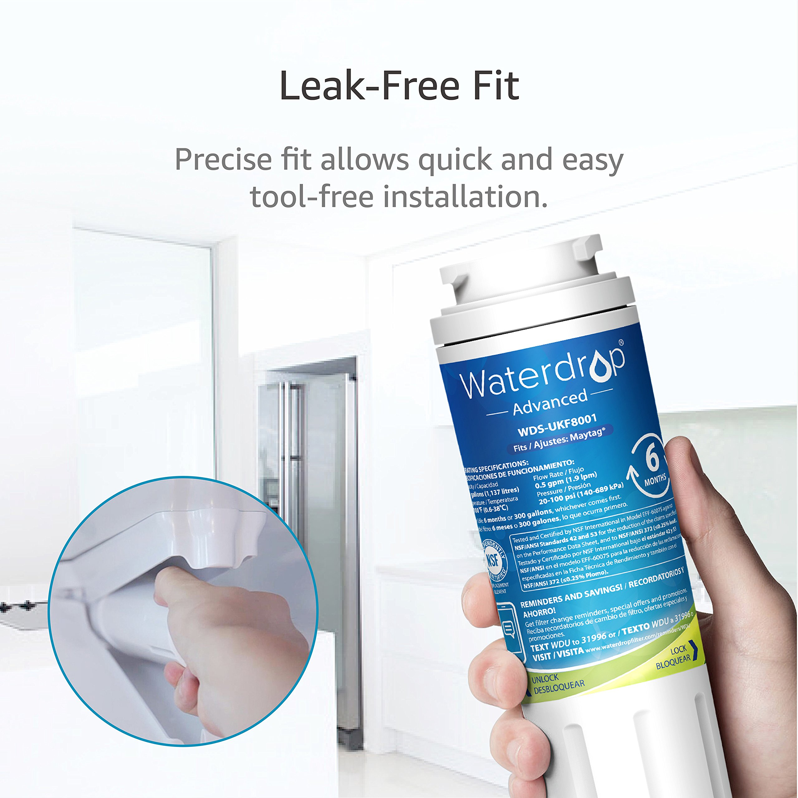 Waterdrop NSF 53&42 Certified UKF8001 Replacement Refrigerator Water Filter  Compatible with Maytag UKF8001, UKF8001AXX, Whirlpool 4396395, 469006,