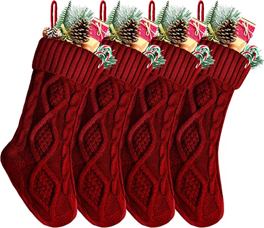Kunyida Pack 2,18 Unique Burgundy Knit Christmas Stockings Style3