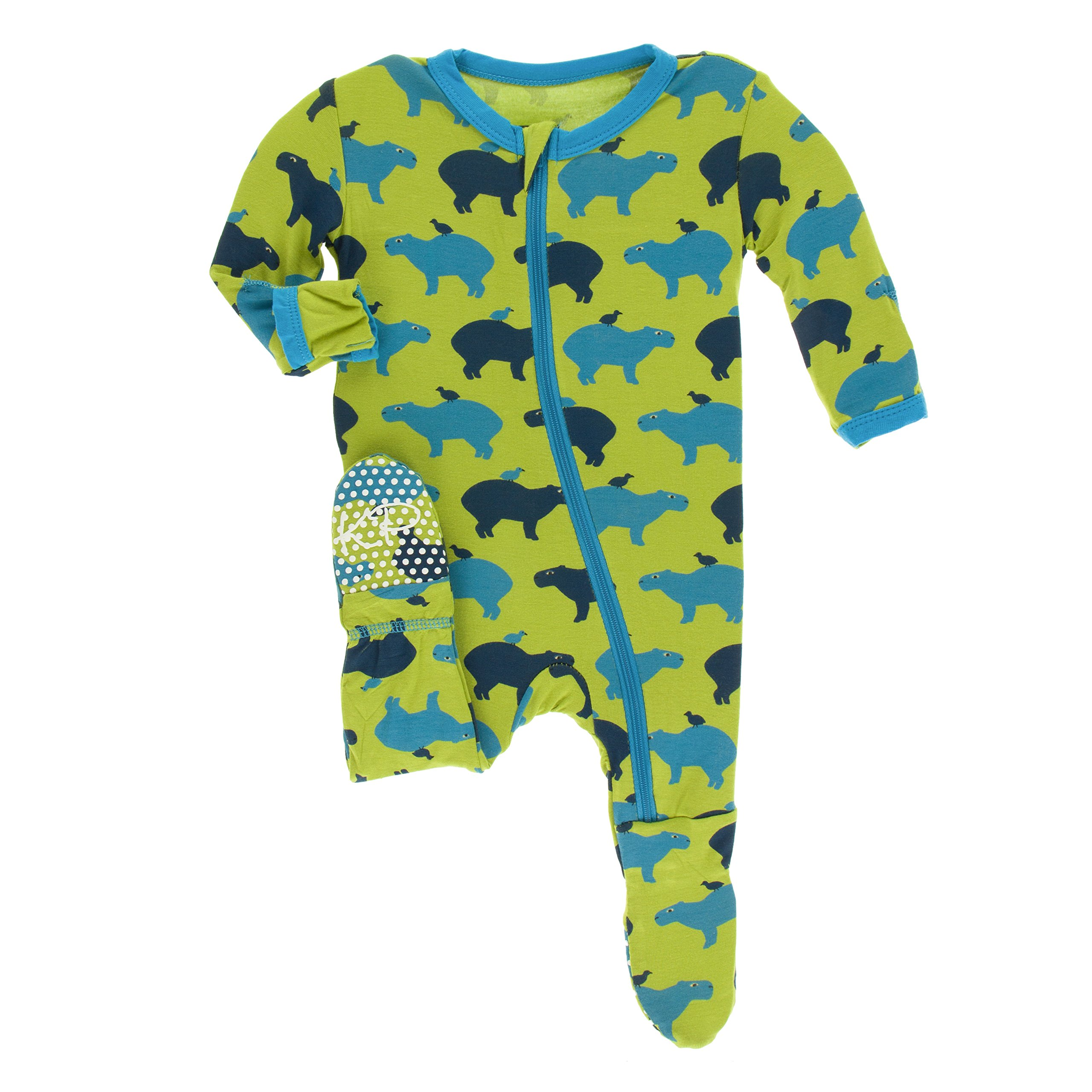 Kickee Pants Little Boys Print Footie with Zipper - Meadow Capybara, Newborn by Kickee Pants (Image #1)