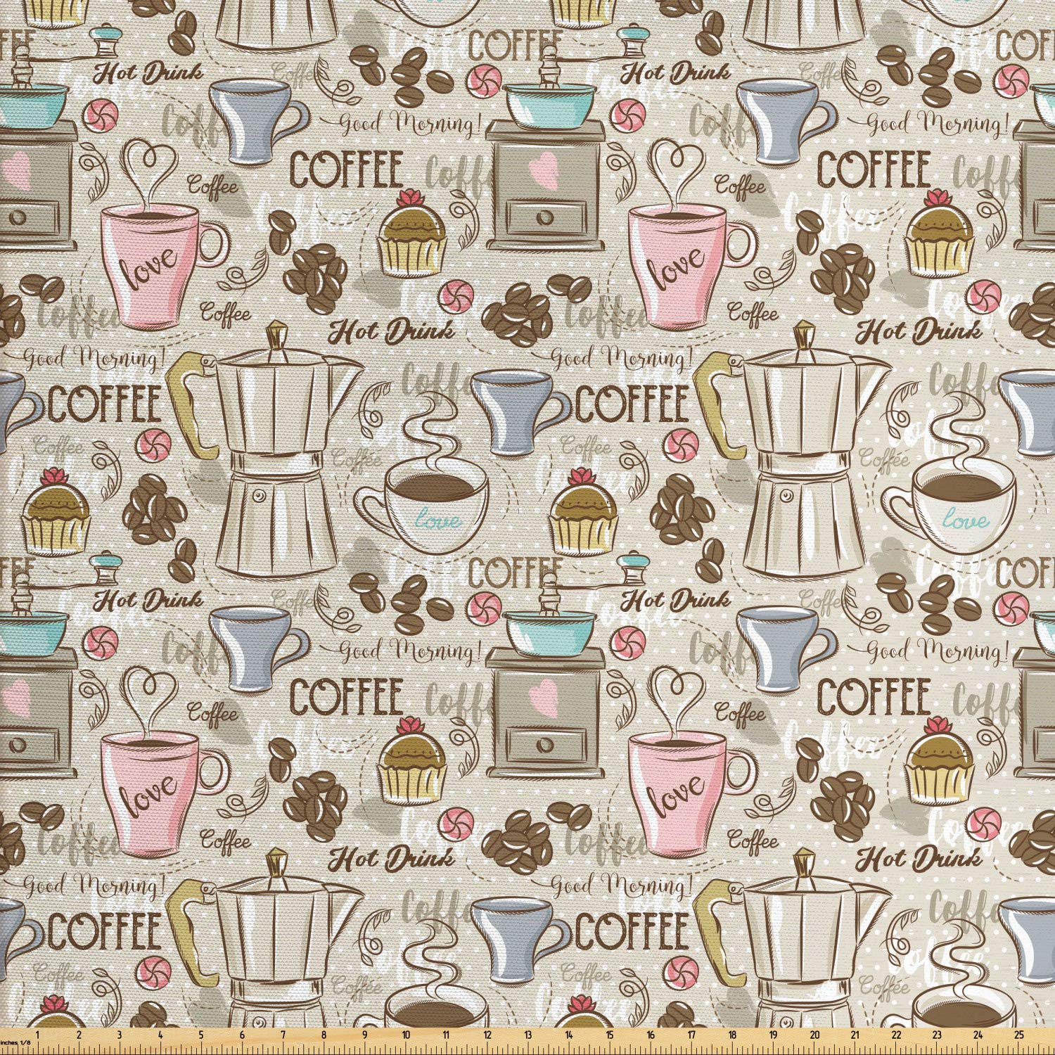 Ambesonne Modern Fabric by The Yard, Coffee Time Vintage Espresso Machine Cupcakes Beans Cute Design, Decorative Fabric for Upholstery and Home Accents,10 Yards, Beige Pale Pink and Umber by Ambesonne (Image #1)
