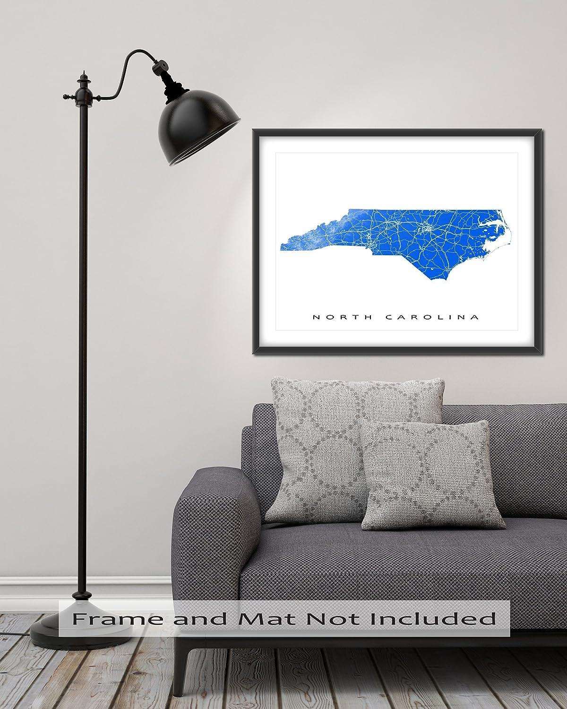 Amazoncom North Carolina Map Art Print NC State Outline USA - Us photo map mat