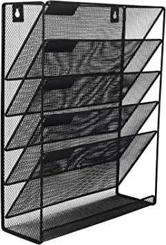 Easypag Mesh Wall Mounted File Holder Organizer Literature Rack 5 Compartments Black Amazon Ca Office Products