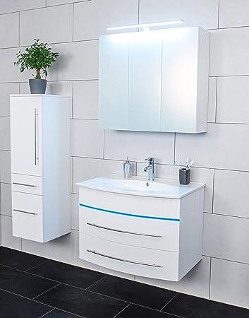 SAM® Badmöbel-Set 3-tlg, Hochglanz weiß, LED-Beleuchtung blau ...