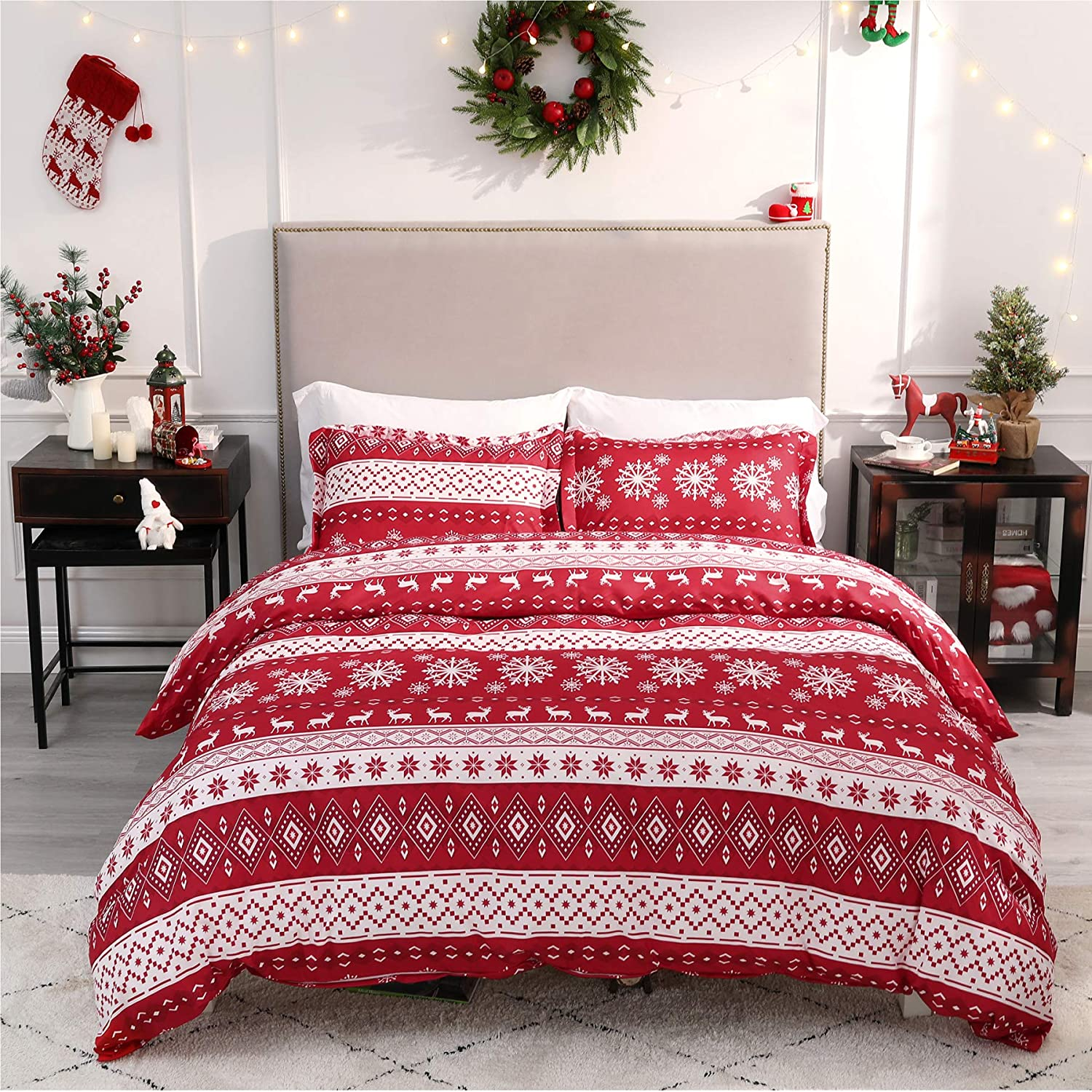Bedsure Christmas Duvet Cover Set, Queen Christmas Bedding - Festive Printed Pattern - Soft Microfiber Comforter Cover, 3 Pieces Bedding with 1 Duvet Cover.