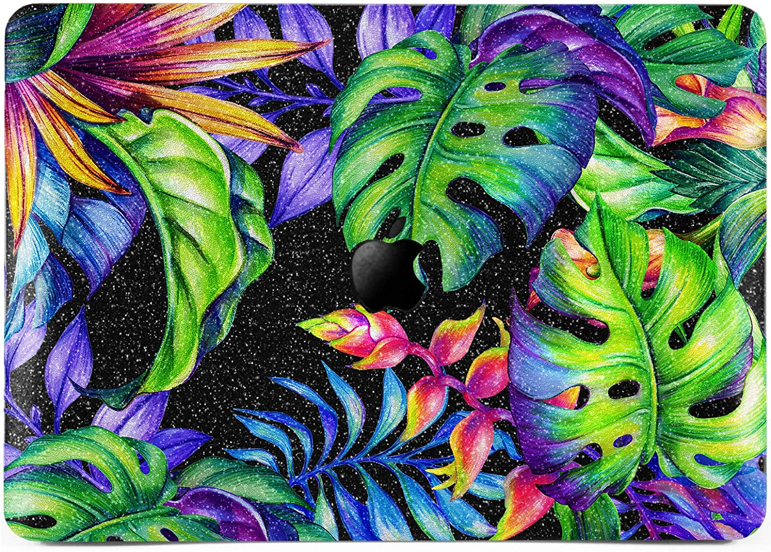 Lex Altern Glitter Case for Apple MacBook Air 13 inch Pro Mac 15 Retina 12 11 2020 2019 2018 2017 Hawaiian Plants Hard Bling Sparkly Black Crystal Trippy Tropical Leaves Cover Laptop Green Protective