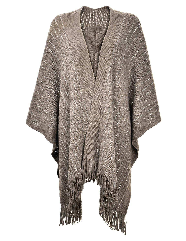 ZLYC Women Lightweight Soft Basic Chunky Knit Open Front Blanket Wrap Fringe Poncho JC-KW-0088_CA