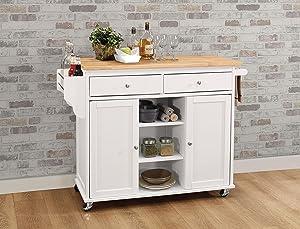 ACME Furniture Isl Tullarick Kitchen Island, Natural/White