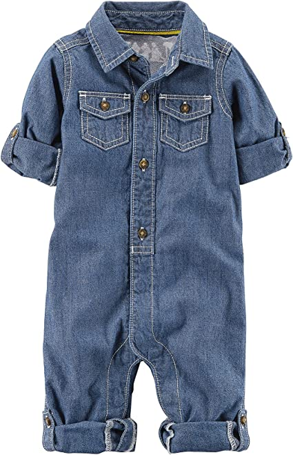 QIANMEI Toddler Baby Boys Girls Long Sleeve Denim Romper Jumpsuit Outfit Clothes