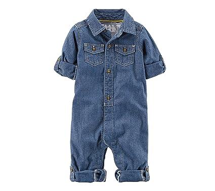 fbdee599776f Amazon.com  Carter s Baby Boys  Chambray Romper  Clothing