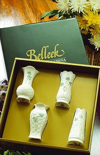 Belleek Shamrock 4 – Inch Mini Vases, Pack of 4