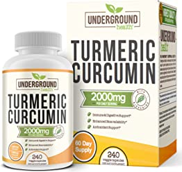 Turmeric Curcumin with Bioperine 2000mg. Highest Potency Available. Premium Pain Relief & Joint Support with 95% Standardized Curcuminoids. Non-GMO, Gluten Free Turmeric Capsules with Black Pepper