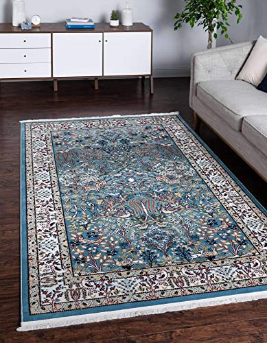 Unique Loom Narenj Collection Classic Traditional Hunting Scene Textured Blue Area Rug 10' 0 x 13' 0