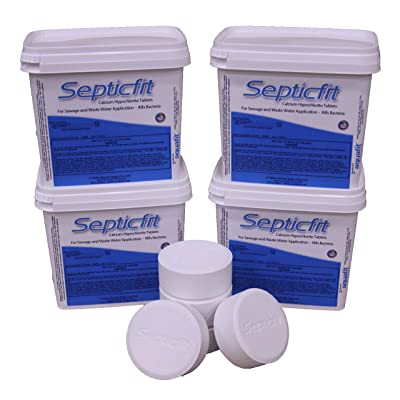 Septicfit Septic Chlorine Tablet - 4 Pail Value Pack - 6 Tablet Pails - 8.2 lbs : Garden & Outdoor