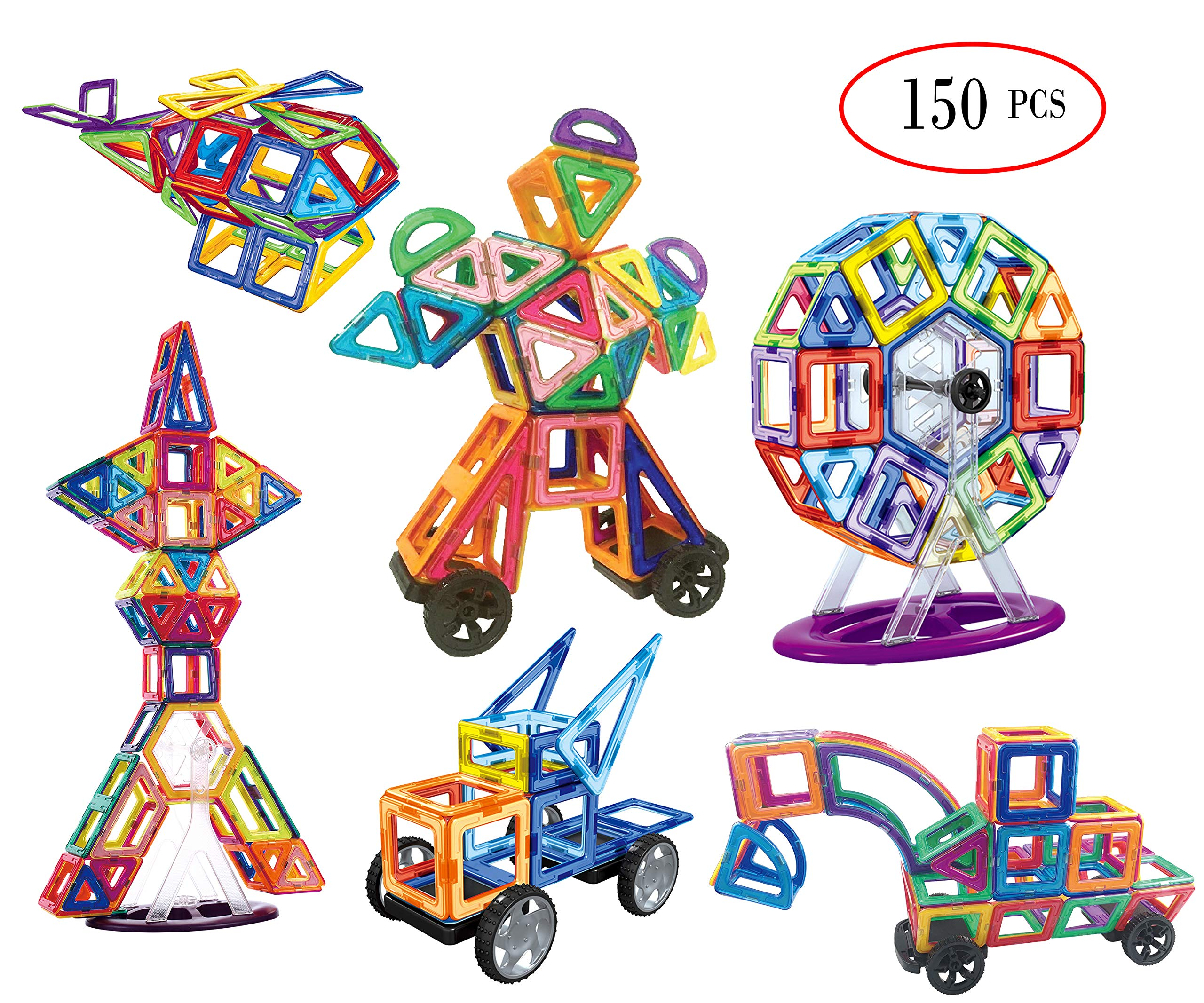 dreambuilderToy Most Complete Magnetic Shapes, Magnetic Tiles, Magnetic Blocks Building Toys Tiles for Kids, Triangles,Squares archs, sectors, semi Circles, Diamonds,Trapezoid etc(150 PC Set) by dreambuilderToy