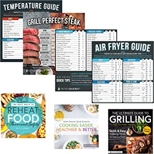 Air Fryer Cheat Sheet Cooking Times Chart Magnet Accessories for Refrigerator + Airfryer Baking & Grilling Cook books and Kitchen Magnetic Fridge Food Temperature Guide for Quick Reference
