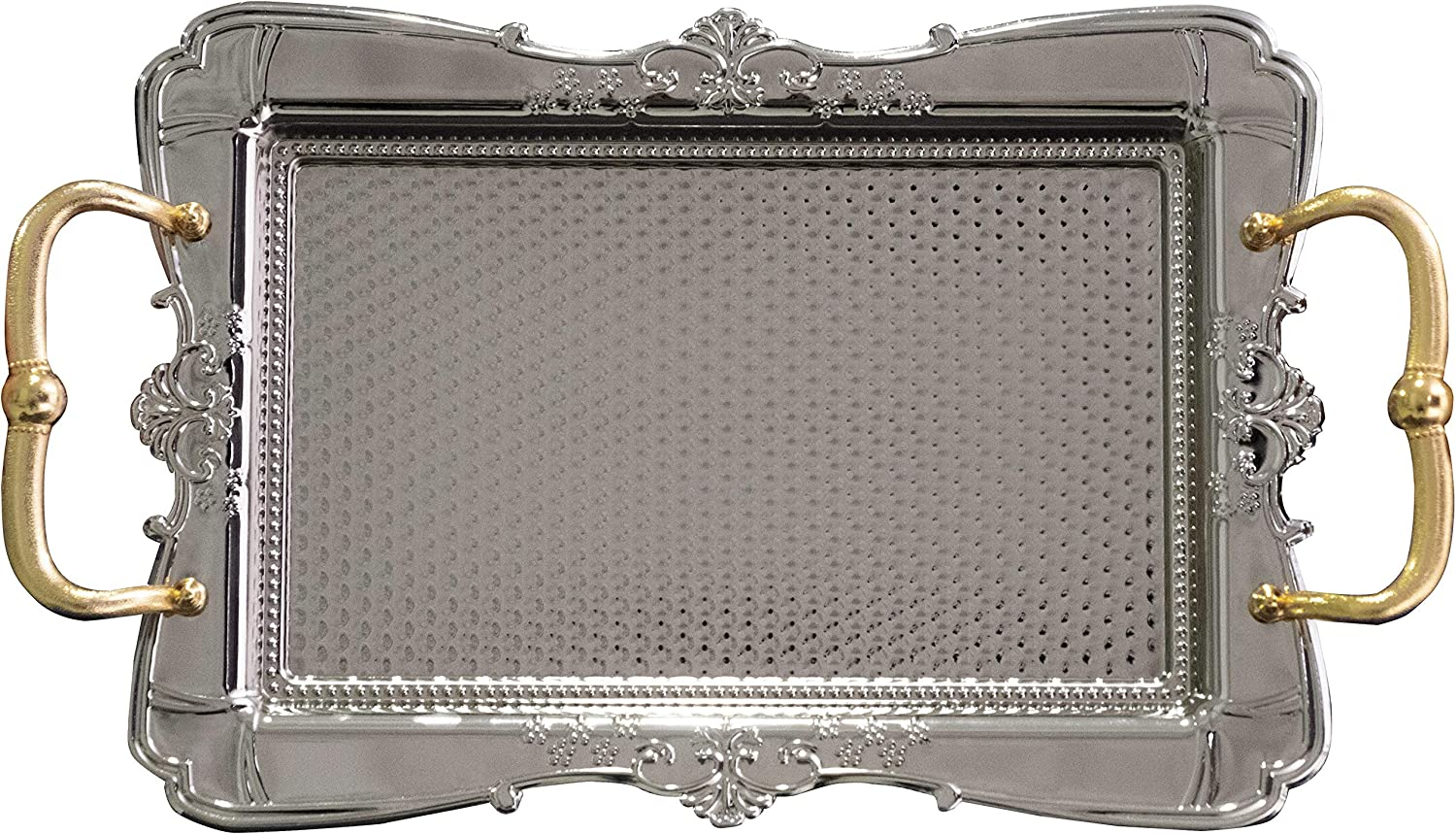 BAYKUL Turkish Ottoman Coffee Tea Beverage Silver Vintage Serving Square Tray, Luxury Metal Chrom Moroccan Decorative Breakfast Dinner Table, Ottoman Trays Extra Large (Silver)