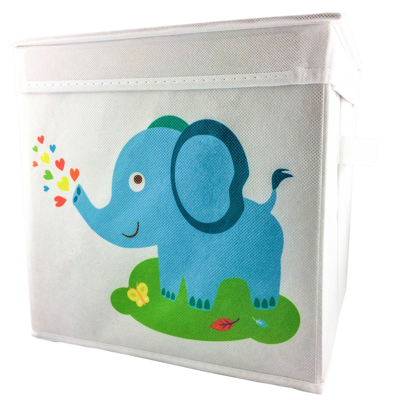Rlan Toy Storage Bins with Lids Cloth Canvas Basket Box Toy organizer for kids (1, Elephant)