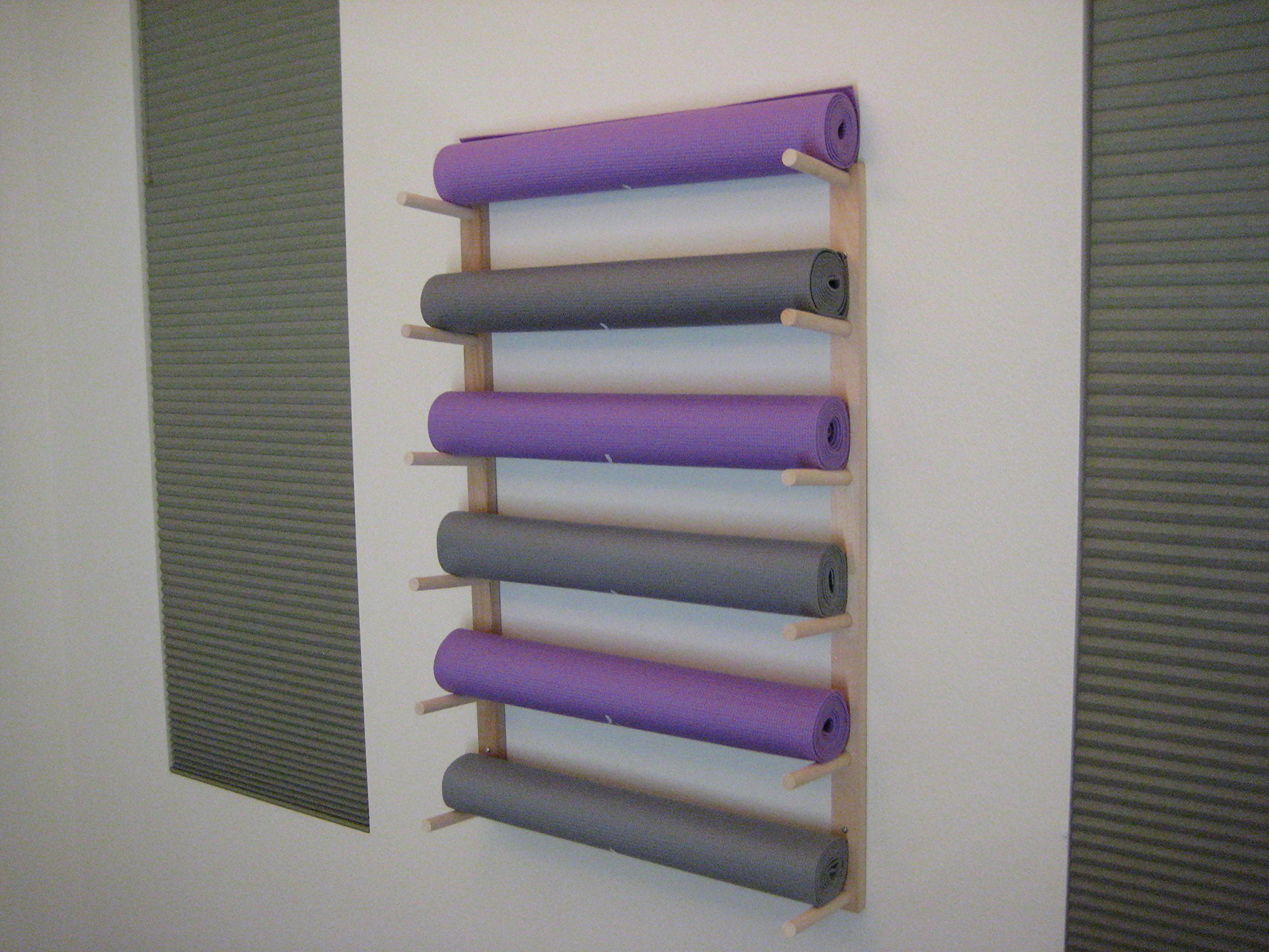 Foam Roller and Yoga Mat Storage Rack Wall Mount in Sustainable Hardwood (36'' 6-Space) (1 Set) by Fitness Storage (Image #3)