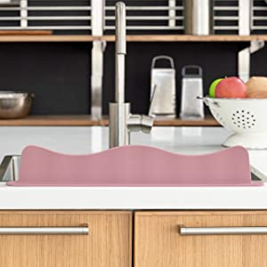Blue Ginkgo Sink Splash Guard - Premium Silicone Water Splash Guard for Kitchen, Bathroom and Island Sinks - Made in Korea - Food Grade Platinum Silicone (19.2 L x 3.1 H x 1.9 W Inches) - Pink