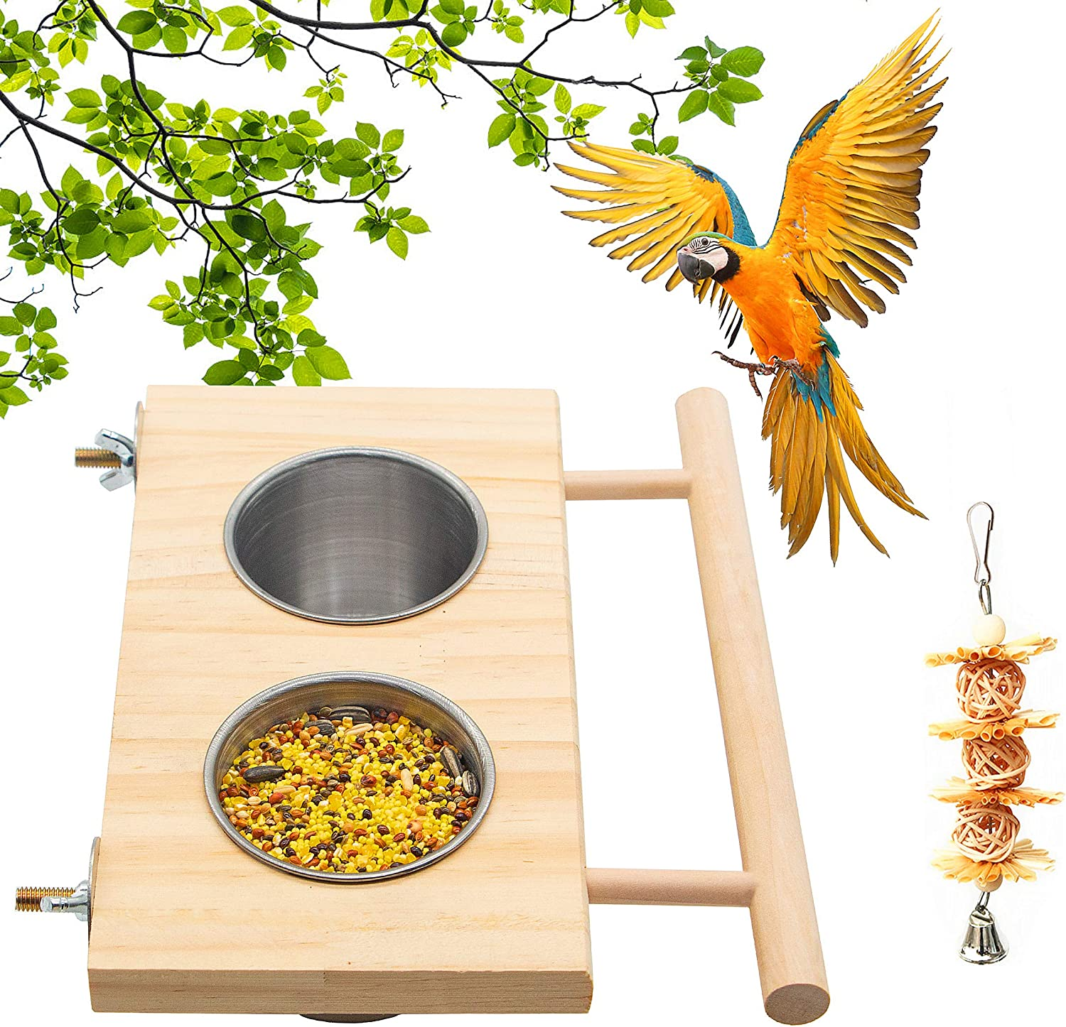 Bird Feeding Dish Cups,Hanging Stainless Steel Parrot Cage Feeder & Water Bowl with Wooden Platform for Parakeet Cockatiels Lovebirds Budgie