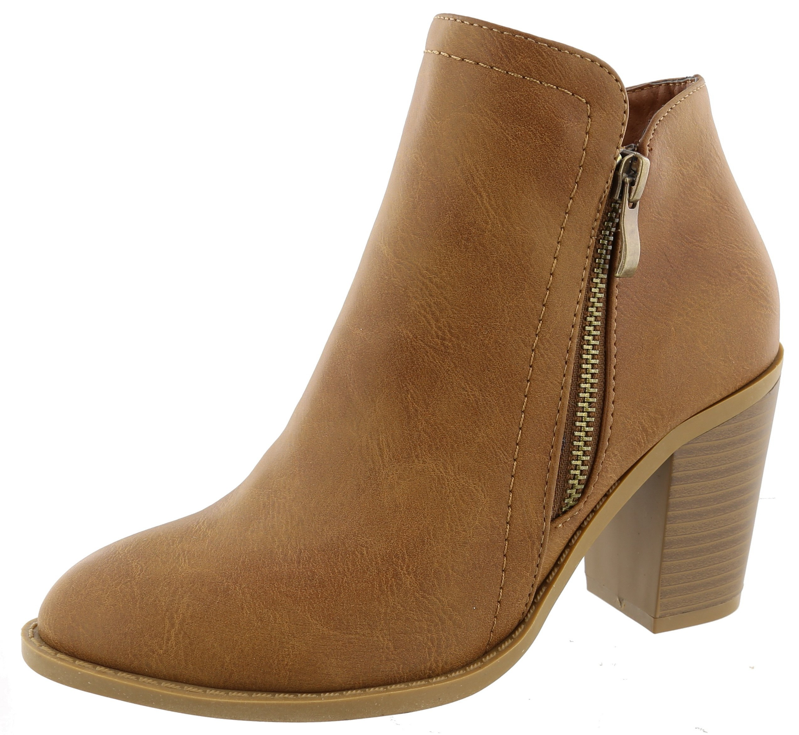 Top Moda Women's Closed Round Toe Zipper Chunky Stacked Block Heel Ankle Bootie (7.5 B(M) US, Tan)