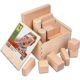 CreaBLOCKS Boîte de 22 blocs de construction en bois naturel non traité pour petits enfants à partir de 6 mois
