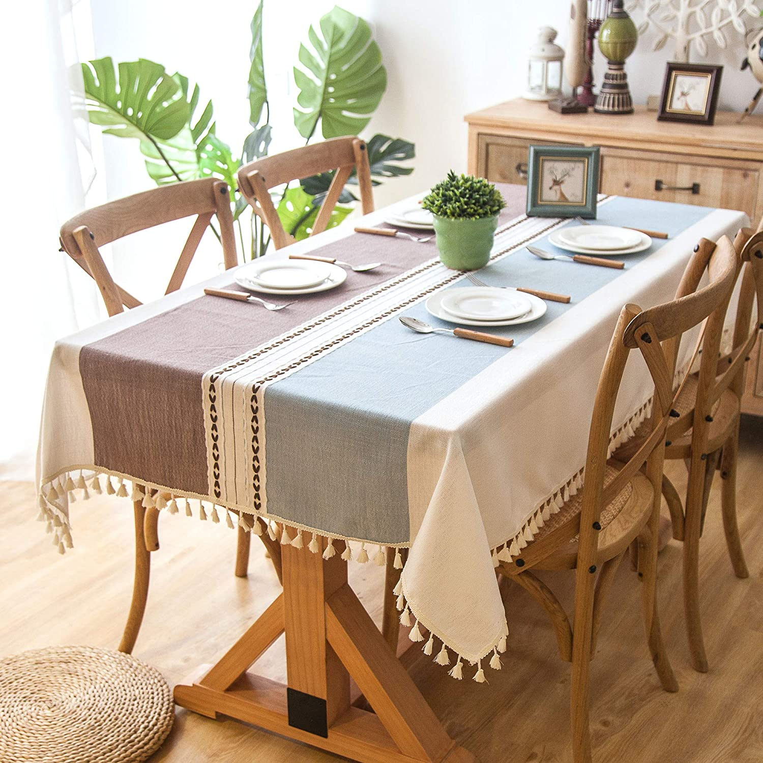 Enova Home Elegant Rectangular Thicken Cotton and Linen Tablecloth with Tassels Dust Proof Table Cover for Kitchen Dinning Tabletop Decoration (Khaki and Light Blue, 54