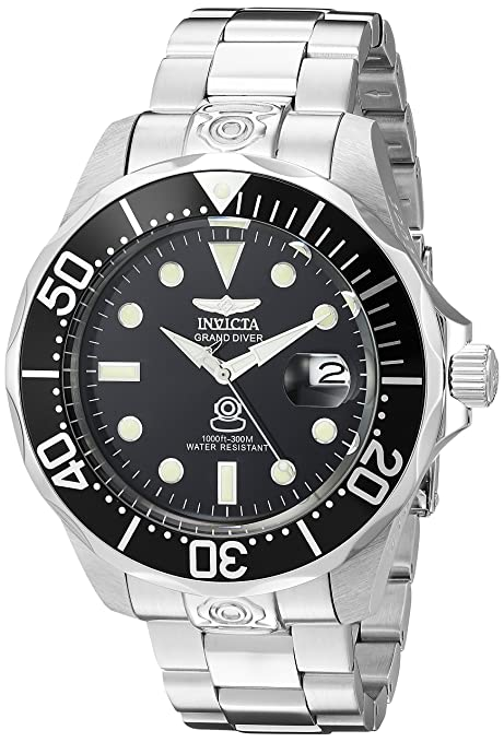 Review Invicta Men's 3044 Stainless Steel Grand Diver Automatic Watch, Silver/Black