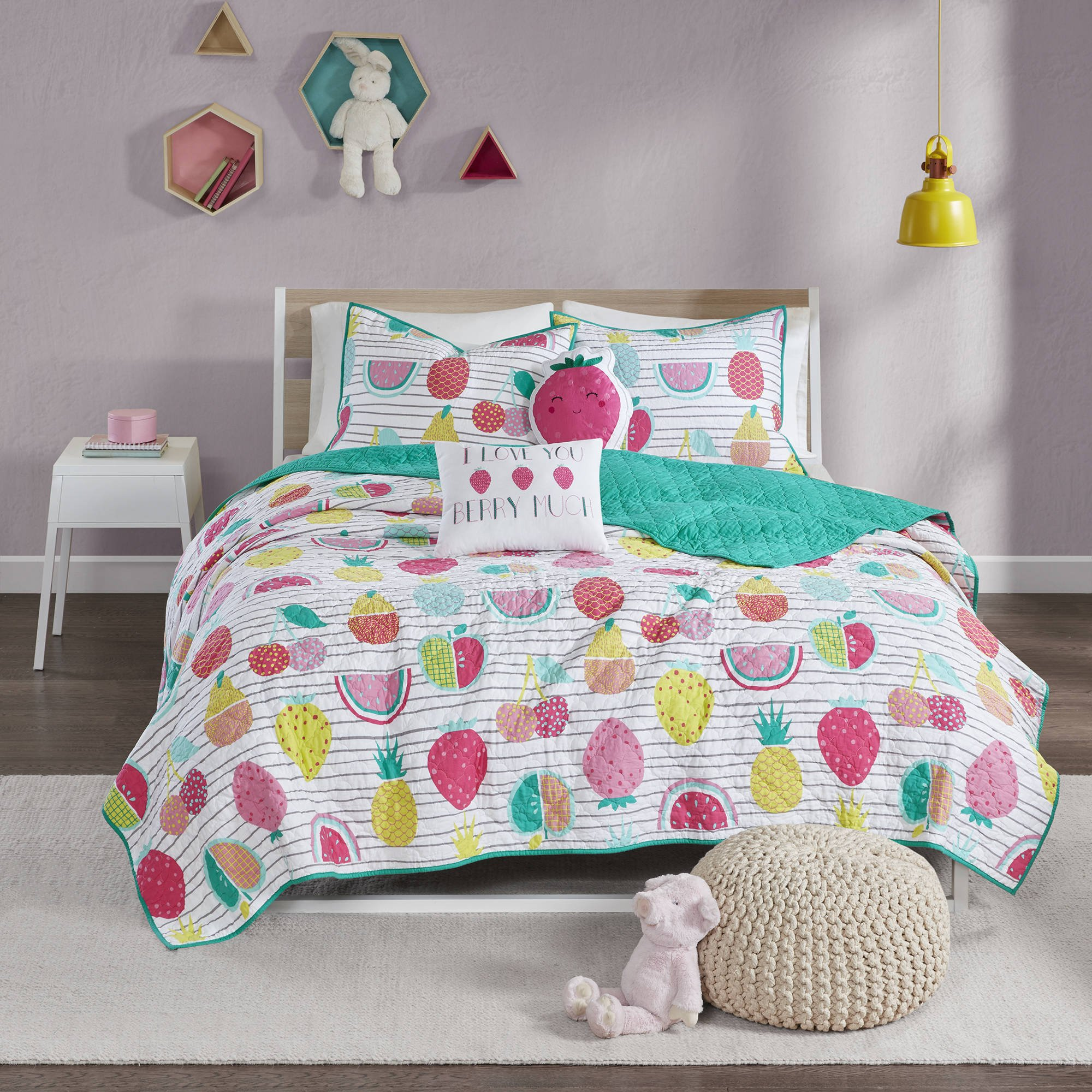 4 Piece Red Yellow Kids Fruit Twin/Twin XL Quilt Set, Pink Blue Pineapple Strawberry Watermelon Pattern Bedding, Horizontal Stripes Berries Reversible Solid Color, Fun Cute Novelty, Cotton