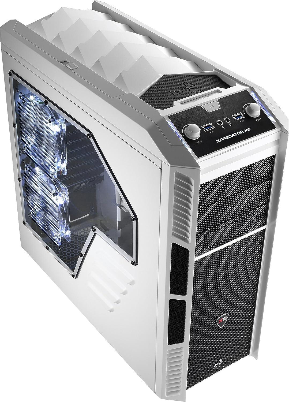 amazon com aerocoolx mid tower cases xpredator x3 white edition white black computers accessories aerocoolx mid tower cases xpredator x3
