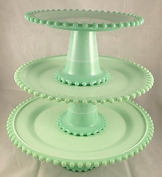 Jadite Green Marble Slag Glass Candlewick Pattern 3 Piece Jadeite Cake Plate Set & Amazon.com   Jadite Green Marble Slag Glass Candlewick Pattern 3 ...