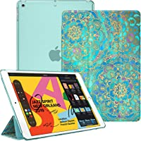 """Fintie Case for New iPad 7th Gen 10.2 Inch 2019 - Lightweight Slim Shell Stand with Translucent Frosted Back Cover Supports Auto Wake/Sleep for iPad 10.2"""" 2019 Tablet, Shades of Blue"""