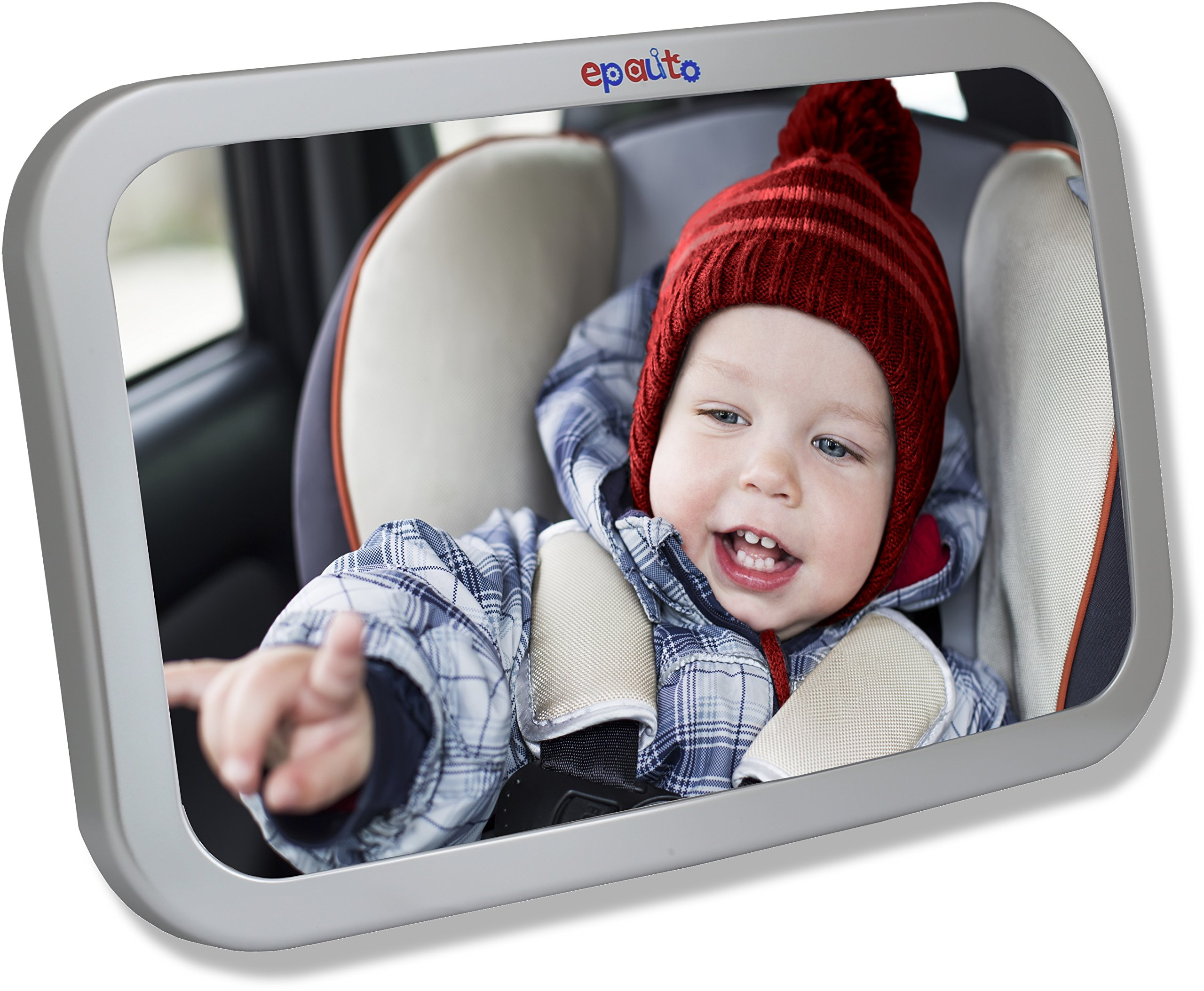 EPAuto Baby Car Back Seat Mirror for Baby and Mom Rear Facing View, Wide Convex Shatterproof Glass and Fully Assembled Crash Tested by EPAuto