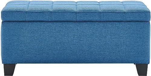 WHI , Blue Upholstered Storage Ottoman
