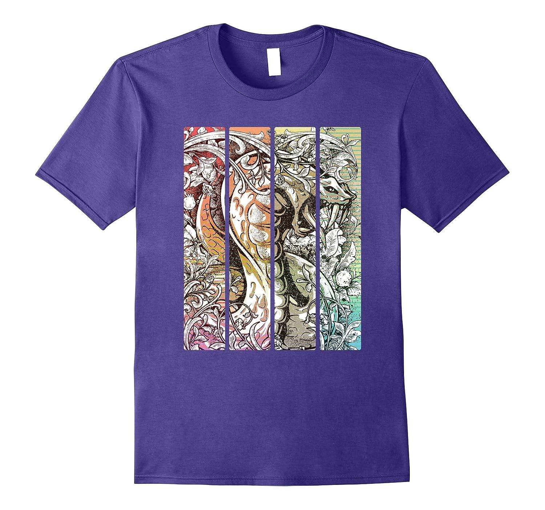 Retro King Cobra Art T-Shirt : Modern Snake Lover Gift-Rose
