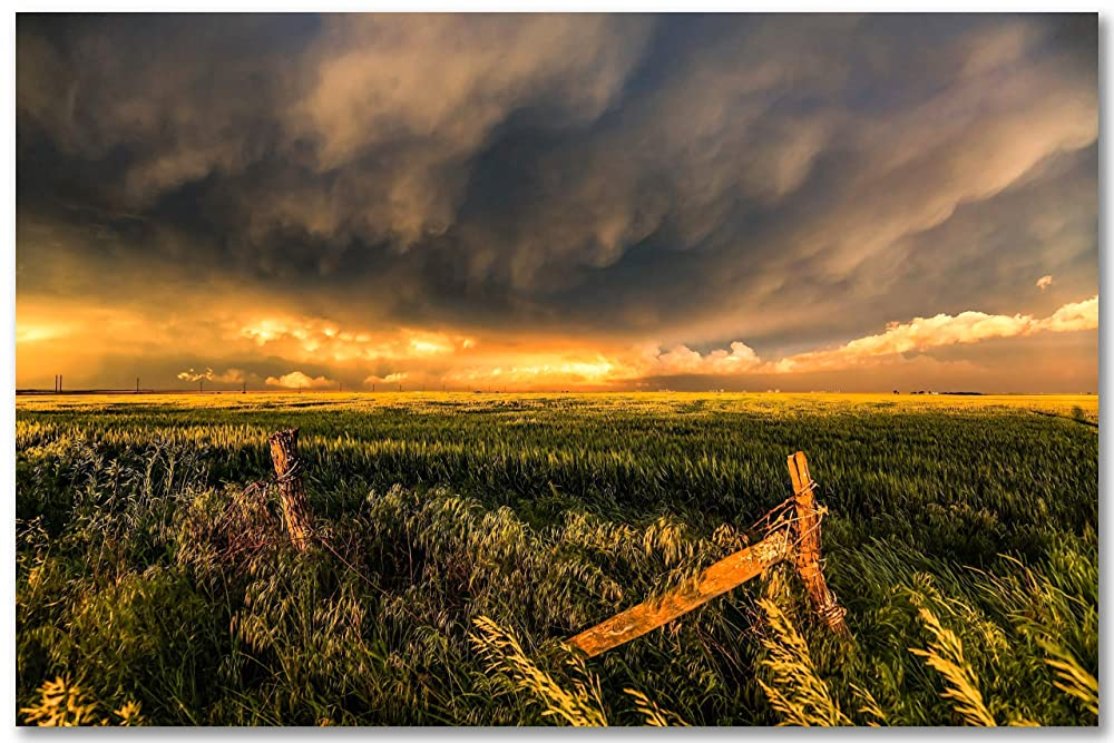 Painting Landscape Wheat Field Barn Farm Stormy Sky Canvas Art Print
