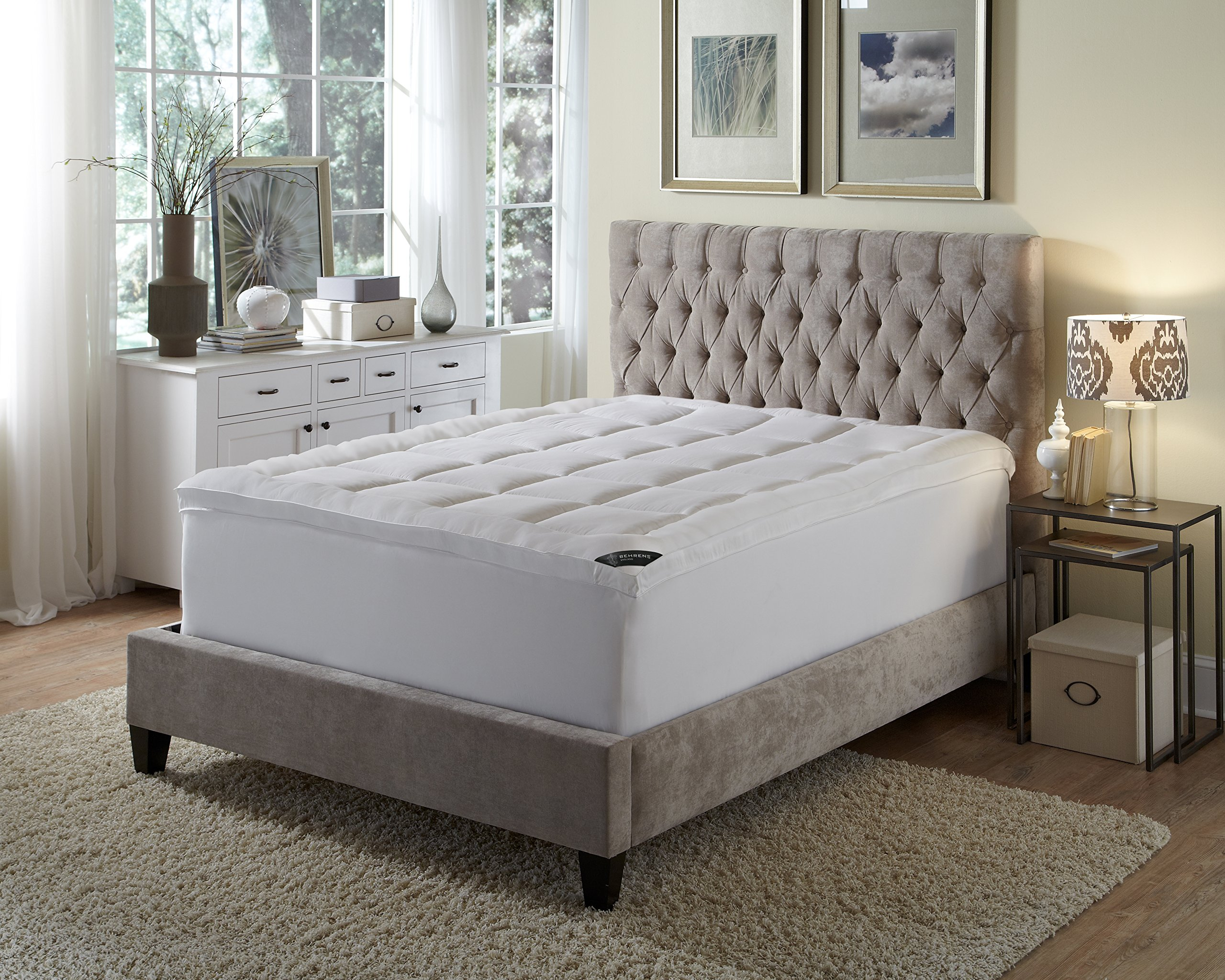 Behrens of England FB-003-7K European Hotel Pillow Top Fiber Feather Bed Alternative, 3 inch Topper with Skirt for Enhanced Comfort on Mattress, King, White