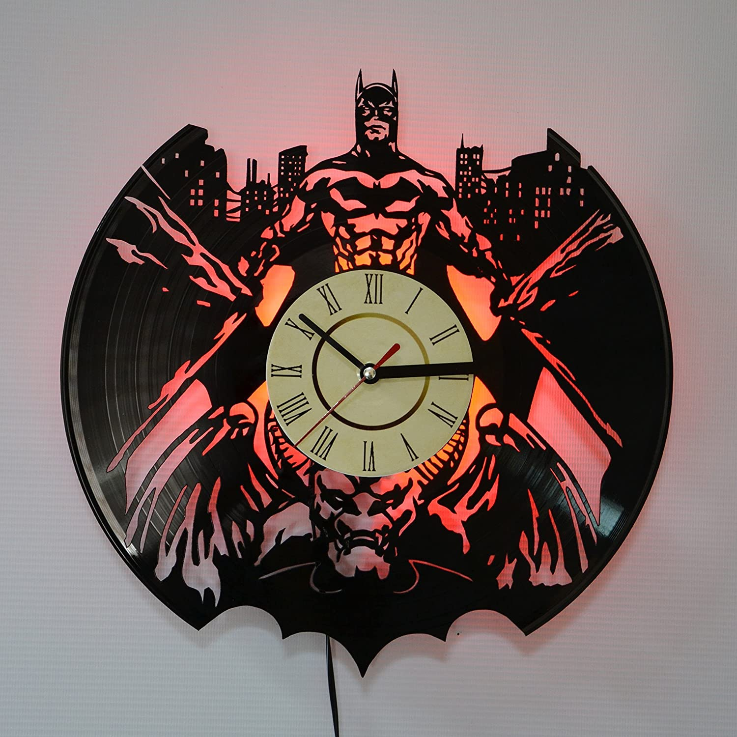 BATMAN Red LED Backlight Vinyl Wall Clock Night Color Change Atmosphere Light Lamp Creative Classic Cool Living Room Interior Decor Led Time Clock With Color Red Light