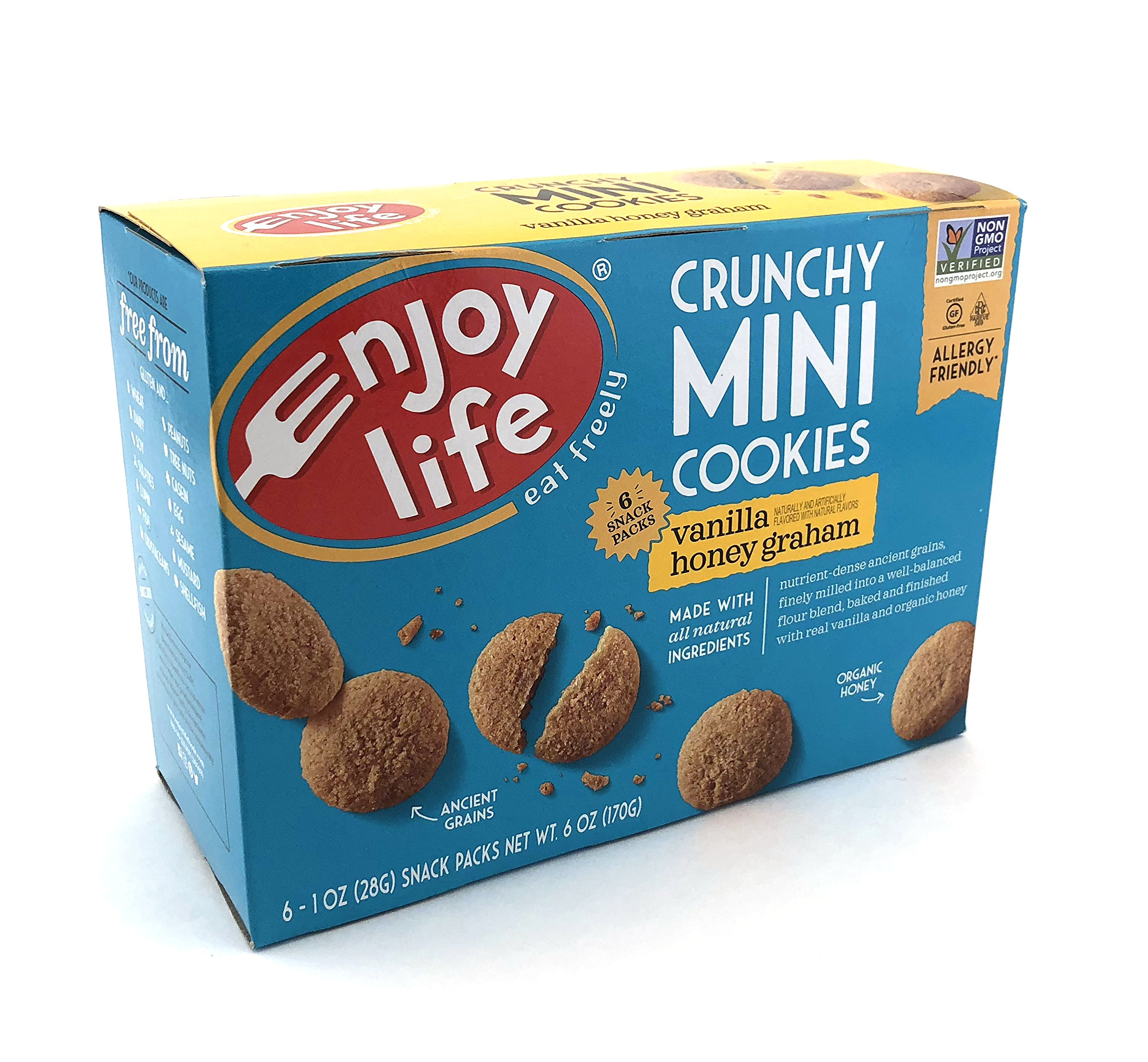 Enjoy Life Crunchy Minis Cookies, Vanilla Honey Graham, Gluten Free 6 Snack Packs (Pack of 6) by Enjoy Life Foods