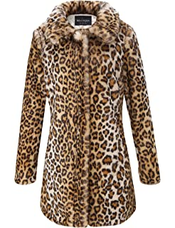 3e4fe3465b74 Bellivera Womens Leopard Faux Fur Cardigan Fluffy Coat Long Sleeve for  Winter